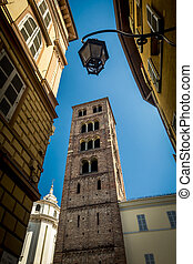 Looking up in Turin street in Piedmont northern Italy