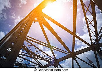 Looking up Shanghai Garden Bridge of Medieval