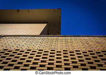 Looking up the side of a building in Baltimore, Maryland.