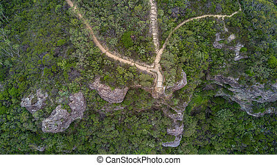 Lookout Blue Mountains Australia - Overhead view of a...