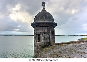 Lookout Tower along the walls of Old San Juan, Puerto Rico.