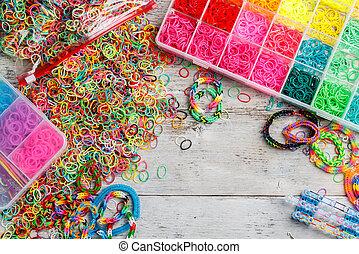 Loom bands  - Set of colorful elastic loom bands