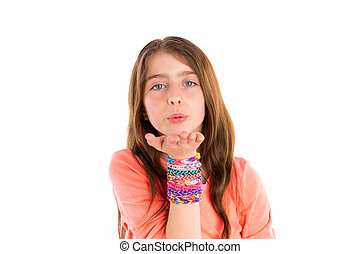 Loom rubber bands bracelets blond kid girl blowing hand on...