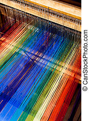 loom weaving close up shot