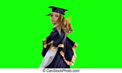 Looming finger. Graduate. Green screen. Slow motion