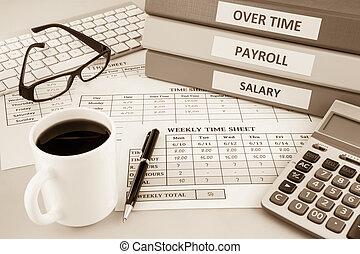 loonlijst, toon, sepia, timesheet, middelen, menselijk