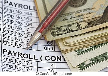 loonlijst, uitgave, of, inkomsten