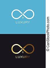 loop., 財産, デザイン, ロゴ, 実質, 無限, 家