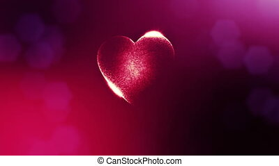 Loop 3d animation of glow particles form 3d red heart with depth of field and bokeh. For valentines day or wedding background as seamless background with space for text and light rays. V11