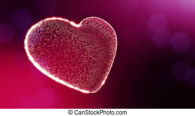 Loop 3d animation of glow particles form 3d red heart with depth of field and bokeh. For valentines day or wedding background as seamless background with space for text and light rays. V2