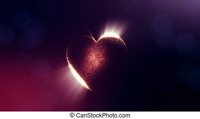 Loop 3d animation of glow particles form 3d red heart with depth of field and bokeh on dark background. Use for valentines day or wedding background as seamless footage. V20