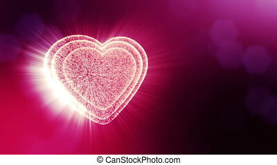 Loop 3d animation of glow particles form 3d red heart with depth of field and bokeh. Use for valentines day or wedding background as seamless background with space for text and light rays. V30