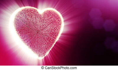 Loop 3d animation of glow particles form 3d red heart with depth of field and bokeh. Use for valentines day or wedding background as seamless background with space for text and light rays. V34