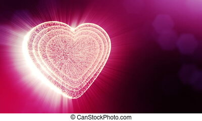Loop 3d animation of glow particles form 3d red heart with depth of field and bokeh. Use for valentines day or wedding background as seamless background with space for text and light rays. V31