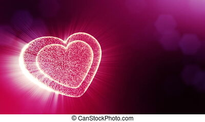 Loop 3d animation of glow particles form 3d red heart with depth of field and bokeh. Use for valentines day or wedding background as seamless background with space for text and light rays. V12