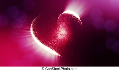 Loop 3d animation of glow particles form 3d red heart with depth of field and bokeh. Use for valentines day or wedding background as seamless background with space for text and light rays. V1