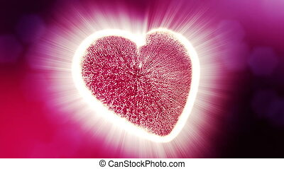 Loop 3d animation of glow particles form 3d red heart with depth of field and bokeh. Use for valentines day or wedding background as seamless background with space for text and light rays. V3