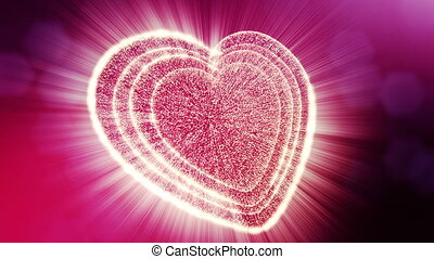 Loop 3d animation of glow particles form 3d red heart with depth of field and bokeh. Use for valentines day or wedding background as seamless background with space for text and light rays. V7