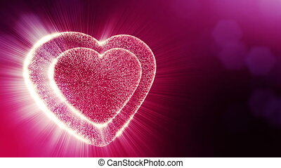 Loop 3d animation of glow particles form 3d red heart with depth of field and bokeh. Use for valentines day or wedding background as seamless background with space for text and light rays. V23