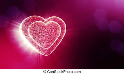 Loop 3d animation of glow particles form 3d red heart with depth of field and bokeh. Use for valentines day or wedding background as seamless background with space for text and light rays. V29