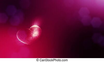 Loop 3d animation of glow particles form 3d red heart with depth of field and bokeh. Use for valentines day or wedding background as seamless background with space for text and light rays. V15