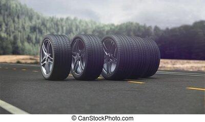 Loop 4 car wheels driving on the road in 4k