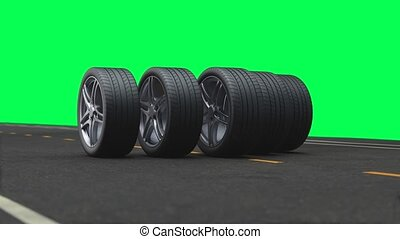 Loop 4 car wheels driving on the road on a green background in 4k