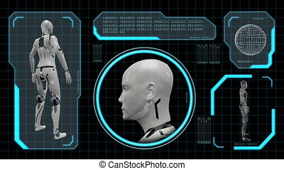 Loop-able animation of an artificial robot woman 4k - 3d...