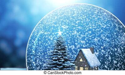 Loop able Christmas Snow globe Snowflake with Snowfall on...