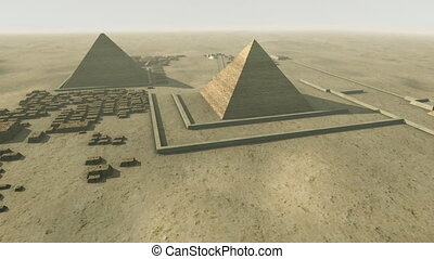 loop-able, giza, tourner, plate-forme, animation, au-dessus, egypt., 3d