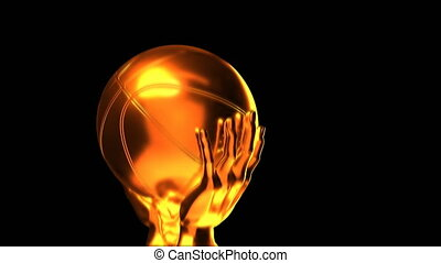 Loop-able gold basketball cup with alpha channel