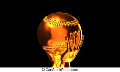 Loop-able golden baseball cup with alpha channel