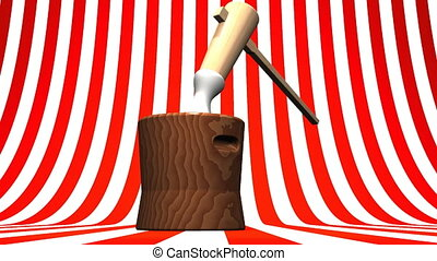Loop Able Mochi Pounding On Red White  Background.