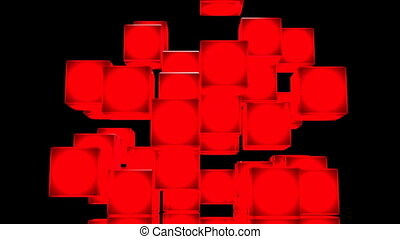 Red Shining Cube Abstract