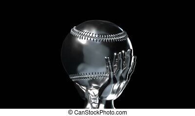 Loop-able silver baseball cup with alpha channel