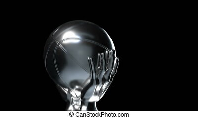 Loop-able silver basketball cup with alpha channel