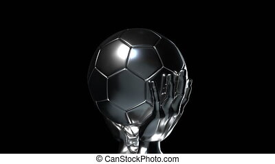 Loop-able silver soccer cup with alpha channel