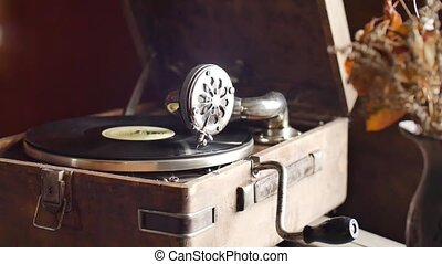 Loop-able Vintage Video of Old Gramophone, playing a record, close up slow motion
