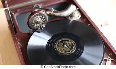 Loop-able Vintage Video of Old Gramophone, playing  record, close up - 1920X1080 Full HD