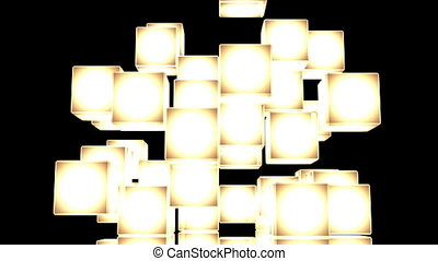 Yellow Shining Cube Abstract