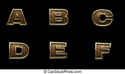 loop alpha matted golden alphabet
