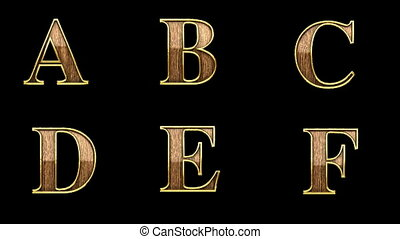 loop alpha matted golden alphabet with wood