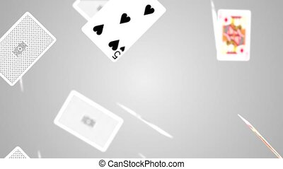 Loop Animation falling playing cards and casino chips White light shadow Animation of seamless loop.