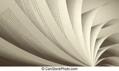 (loop), boek, draaien, pagina's, engelse