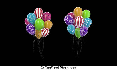 Loop Bundle multicolored balloons with alpha channel