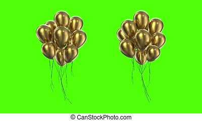 Loop Bundle of golden balloons on a green background