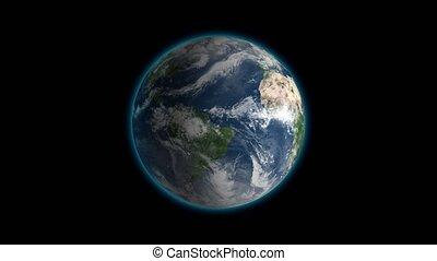 loop., cadre, centré, globe, seamless, tourner, réaliste, noir, la terre, rotation, correct, boucle