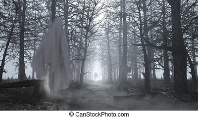Loop dark scary forest with flying ghosts