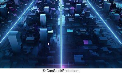 Loop digital boxing neon background
