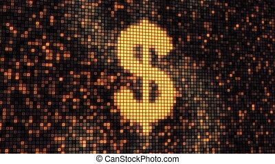 loop dollar shape on digital screen